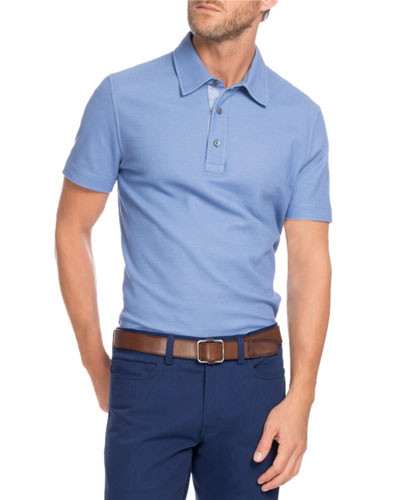 Cotton-Silk Polo Shirt, Light Blue