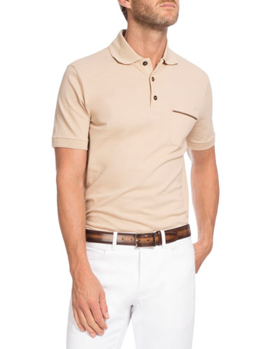 Leather-Trim Polo Shirt, Cream