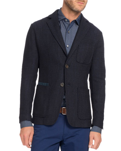 Textured Knit Two-Button Blazer, Navy Blue