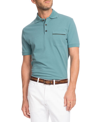 Leather-Trim Polo Shirt, Turquoise