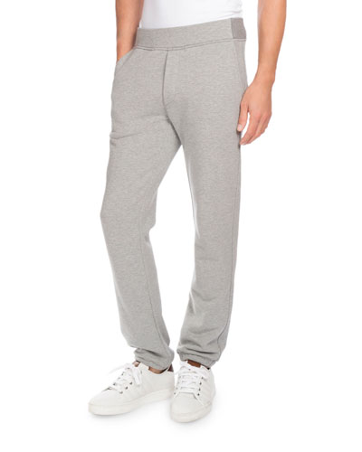 Heathered Jogger Pants with Leather Pocket, Gray
