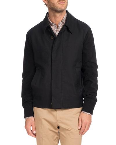 Suede Trim Blouson Jacket, Black