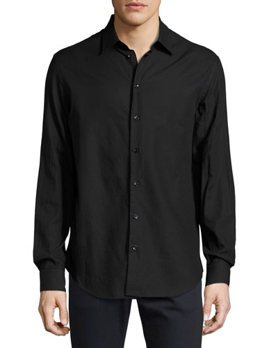 Textured Cotton Sport Shirt, Black