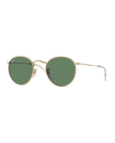 Men's Round Metal Sunglasses, Green
