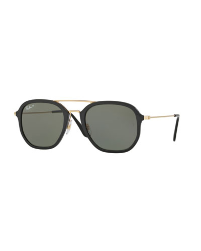 Men's Polarized Square Aviator Sunglasses, Black/Gold
