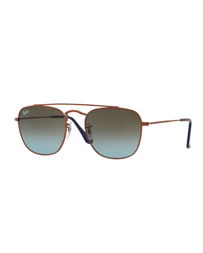 Men's Square Double-Bridge Sunglasses, Bronze/Copper