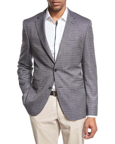 Grid Check Two-Button Sport Coat, Black/White