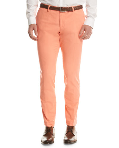 Stretch-Cotton Flat-Front Pants, Light Orange