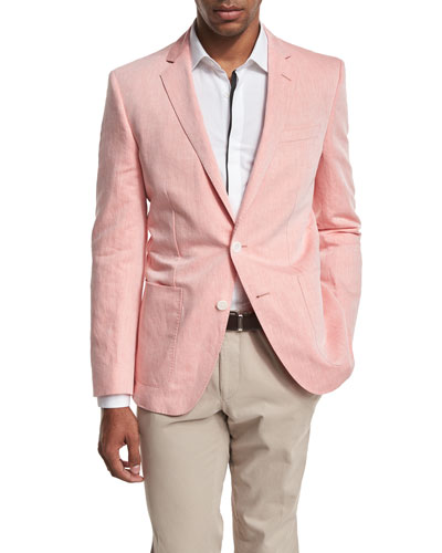 Woven Two-Button Sport Coat, Pale Orange
