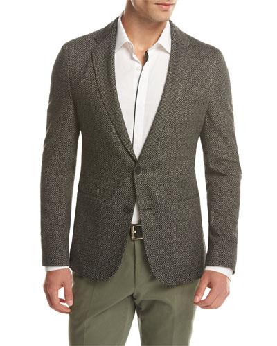 Norwin Slim-Fit Textured Jersey Sport Coat, Black/White
