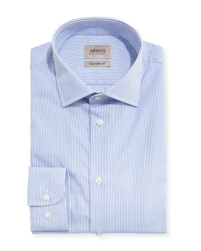 Striped Modern-Fit Dress Shirt, Blue