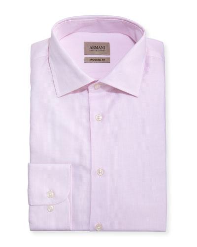 Modern-Fit Micro-Pattern Dress Shirt, Light Pink