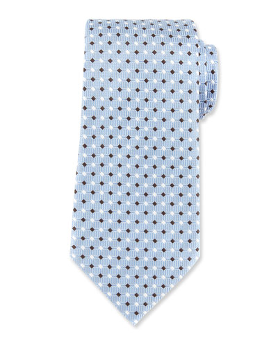 Neat Diamond Silk Tie, Blue