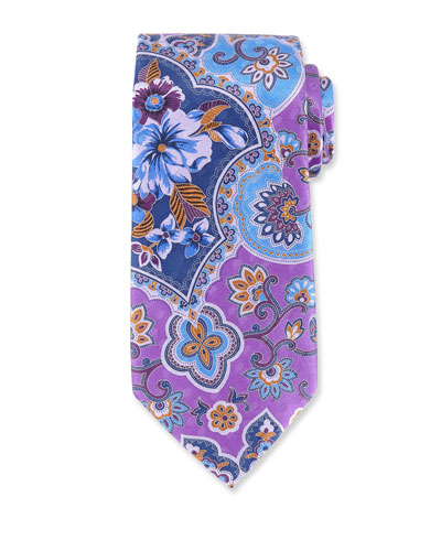 Large Paisley Silk Tie, Purple