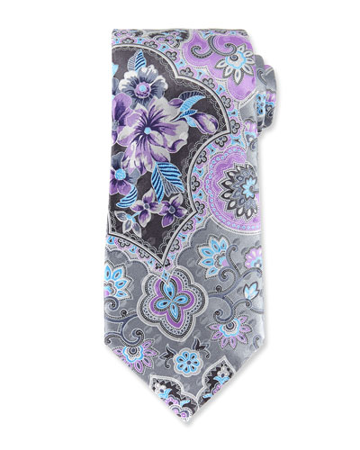 Large Paisley Silk Tie, Gray