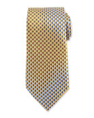 Neat 3D Diamond Printed Silk Tie, Yellow