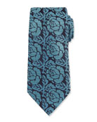 Dotted Rose Woven Silk Tie, Green