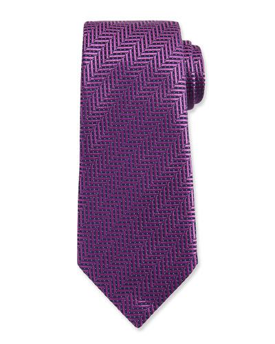 Dotted Herringbone Woven Silk Tie, Purple