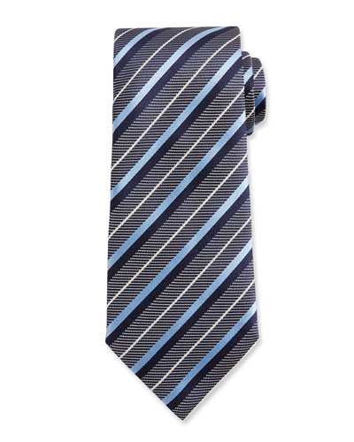 Diagonal-Stripe Woven Silk Tie, Blue