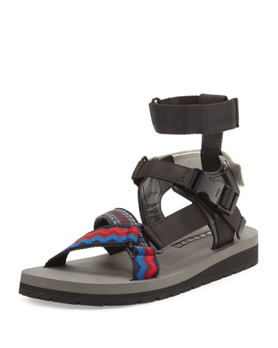 Runway Nylon Strap Sandal, Multicolor/Black