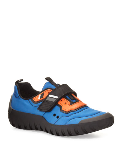 Colorblock Nylon Scuba Sneaker, Blue/Orange