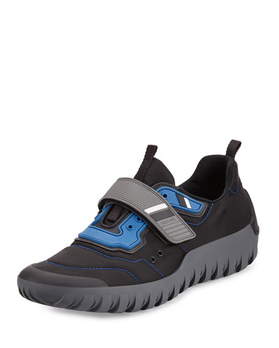 Colorblock Neoprene Scuba Sneaker, Black/Blue