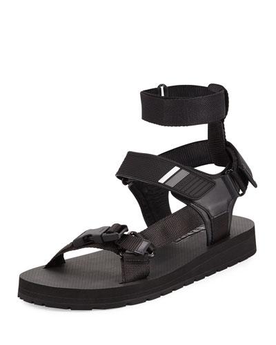 Runway Nylon Strap Sandal, Black