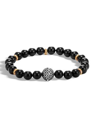 Men's Classic Chain Medium Bead Bracelet, Black