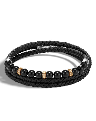 Men's Classic Chain Woven Leather & Bead Triple-Wrap Bracelet, Black