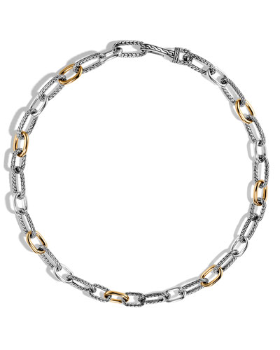 Men's Classic Chain Sterling Silver & Gold Link Necklace