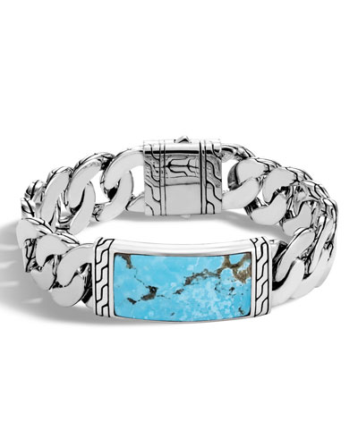 Men's Classic Chain Sterling Silver & Turquoise ID Bracelet, Turquoise