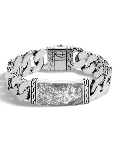 Men's Classic Chain Medium Gourmette Calcite ID Bracelet, Silver