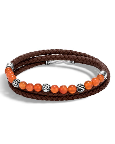 Men's Classic Chain Triple-Wrap Carnelian Bead Bracelet