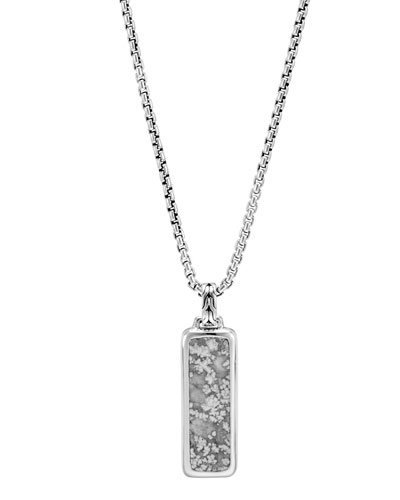 Men's Classic Chain Calcite & Sterling Silver Dog Tag Necklace
