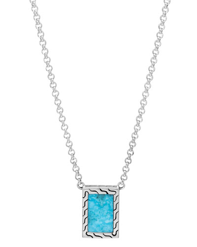 Men's Classic Chain Sterling Silver & Turquoise Necklace