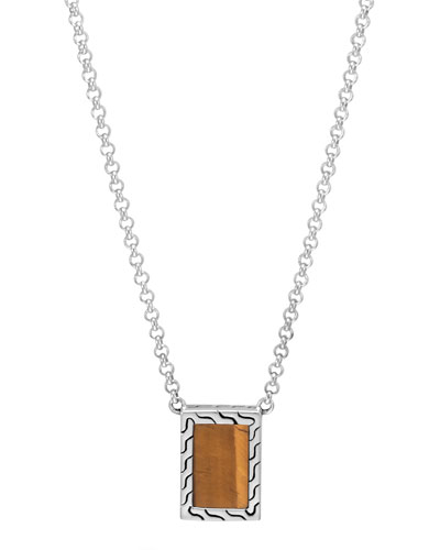 Men's Modern Chain Sterling Silver & Tiger's Eye Necklace