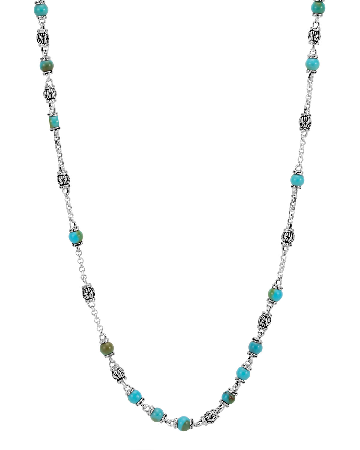 Men's Classic Chain Silver & Turquoise Bead Necklace