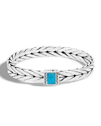 Men's Modern Chain Medium 9mm Sterling Silver & Turquoise Bracelet