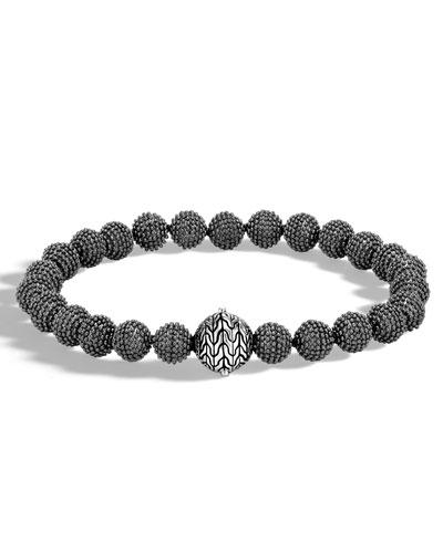 Men's Classic Chain Medium Jawan Bead Bracelet, Black