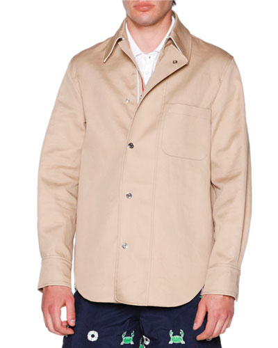Macintosh Shirt Jacket with Grosgrain Placket, Khaki