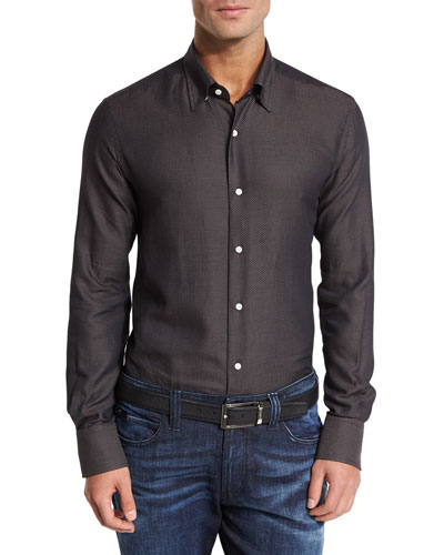 Houndstooth Sport Shirt, Chocolate