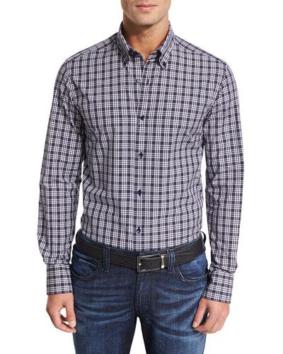 Grid Check Sport Shirt, Navy