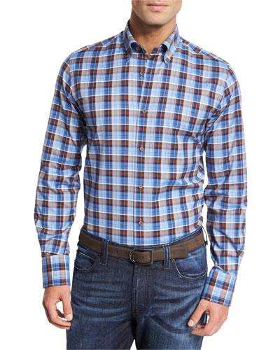 Plaid Cotton Sport Shirt, Blue/Brown