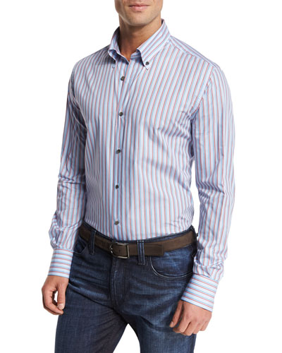 Striped Sport Shirt, Blue/Multicolor