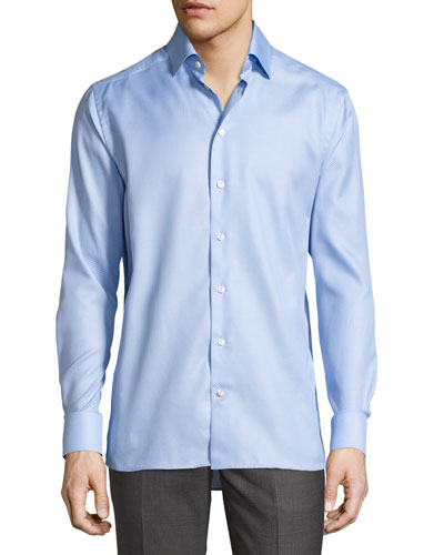 Tonal Jacquard Sport Shirt, Light Blue