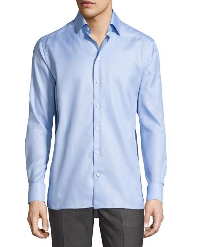 Tonal Jacquard Sport Shirt, Light Blue