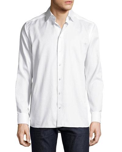 Tonal Dot Jacquard Sport Shirt, White