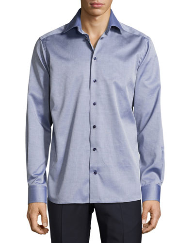 Parquet-Weave Sport Shirt, Dark Blue