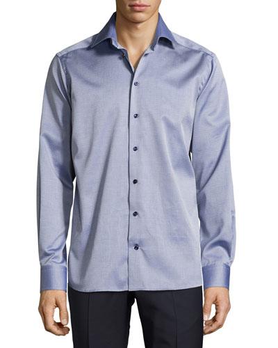 Parquet-Weave Sport Shirt, Dark Blue
