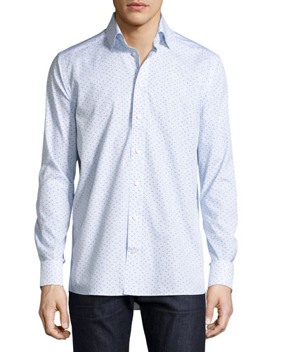 Bluebird Geometric-Print Sport Shirt, Blue
